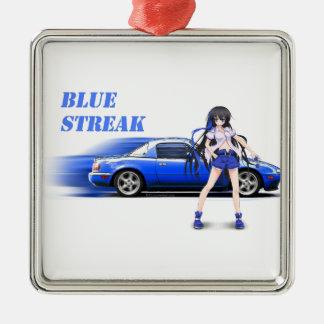Blue Miata - with anime girl Silver-Colored Square Ornament