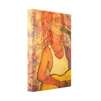 blue microphone songstress canvas print