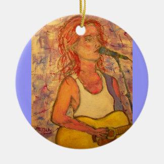 blue microphone songstress round ceramic ornament