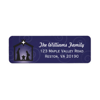 Blue Midnight Christmas Nativity Address Labels