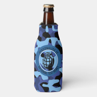 Blue Military Camouflage with grenade Bottle Cooler