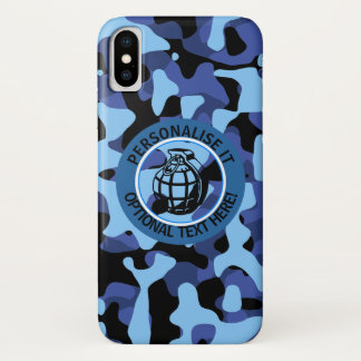 Blue Military Camouflage with grenade iPhone X Case