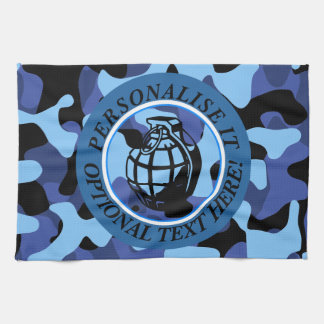 Blue Military Camouflage with grenade Kitchen Towel