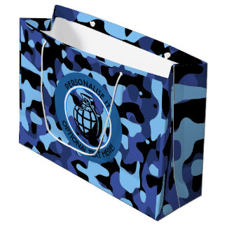 Blue Military Camouflage with grenade Large Gift Bag