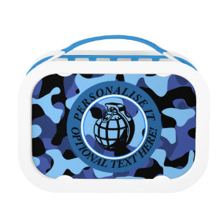 Blue Military Camouflage with grenade Lunch Box