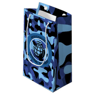 Blue Military Camouflage with grenade Small Gift Bag