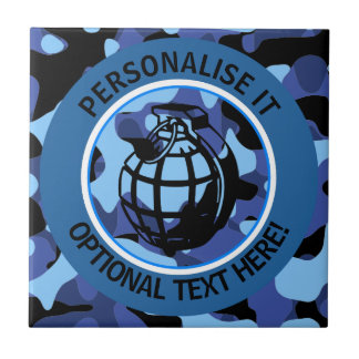 Blue Military Camouflage with grenade Tile