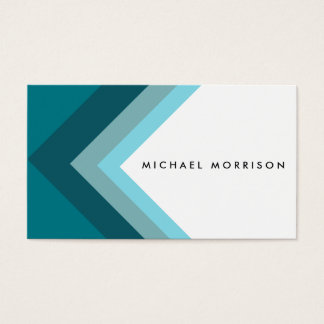 Blue mint arrow geometric minimal modern design business card