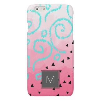 blue mint black geometric pattern pink brushstroke