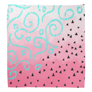 blue mint black geometric pattern pink brushstroke bandana
