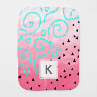 blue mint black geometric pattern pink brushstroke burp cloth