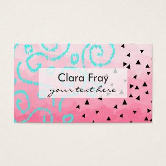 blue mint black geometric pattern pink brushstroke business card
