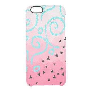 blue mint black geometric pattern pink brushstroke clear iPhone 6/6S case