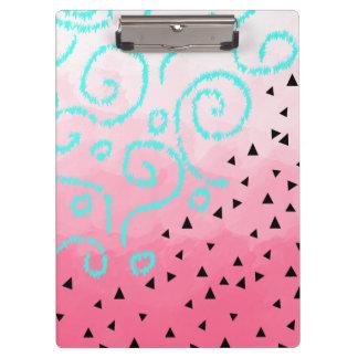 blue mint black geometric pattern pink brushstroke clipboard