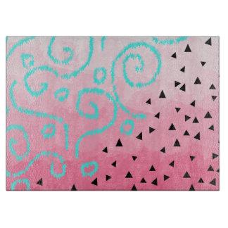 blue mint black geometric pattern pink brushstroke cutting board