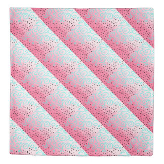 blue mint black geometric pattern pink brushstroke duvet cover