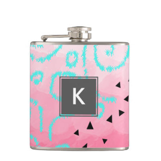 blue mint black geometric pattern pink brushstroke hip flask
