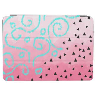 blue mint black geometric pattern pink brushstroke iPad air cover