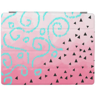 blue mint black geometric pattern pink brushstroke iPad cover