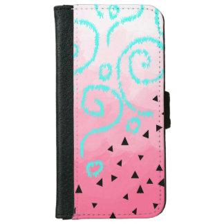 blue mint black geometric pattern pink brushstroke iPhone 6 wallet case