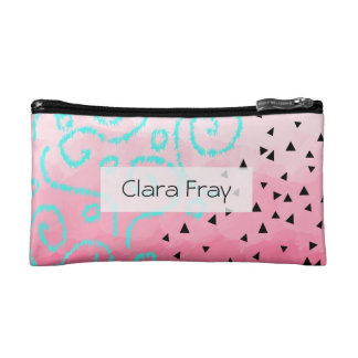 blue mint black geometric pattern pink brushstroke makeup bag