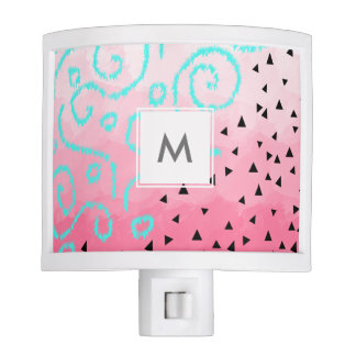 blue mint black geometric pattern pink brushstroke nite lights