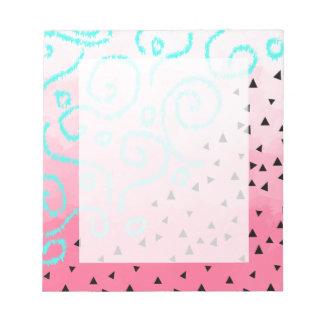 blue mint black geometric pattern pink brushstroke notepad