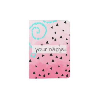 blue mint black geometric pattern pink brushstroke passport holder