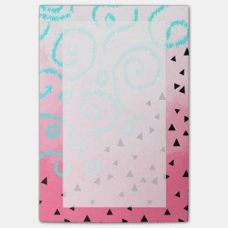 blue mint black geometric pattern pink brushstroke post-it notes