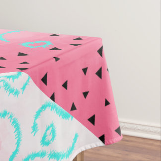 blue mint black geometric pattern pink brushstroke tablecloth