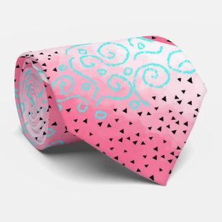 blue mint black geometric pattern pink brushstroke tie