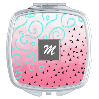 blue mint black geometric pattern pink brushstroke vanity mirrors