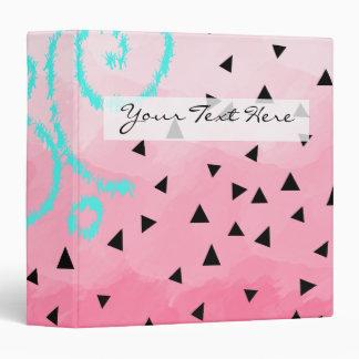 blue mint black geometric pattern pink brushstroke vinyl binder