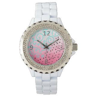 blue mint black geometric pattern pink brushstroke watch