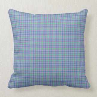 Blue Mint Green Purple Striped Plaid Throw Pillow