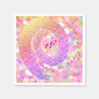 Blue Mint Peach Glitter Rainbow Birthday Bridal Napkin