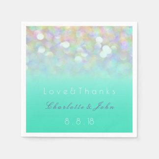 Blue Mint Purple Glitter Ombre Dandelion Wedding Paper Napkins