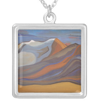 Blue Mission Mountains Silver Plated Necklace