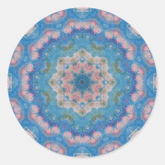 Blue Mixed Media Mandala Round Sticker