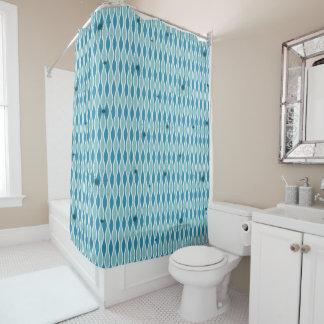 Blue Mod Hourglass & Sputniks Shower Curtain