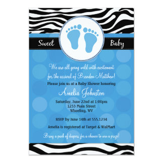 Blue Mod Zebra Print Baby Shower Invitations