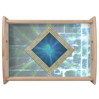 Blue Modern Abstract Serving Tray