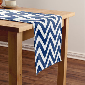 Blue Modern Chevron Stripes Short Table Runner