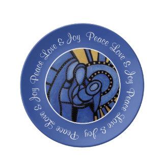 Blue Modern Christmas Holy Family Custom Name Plate