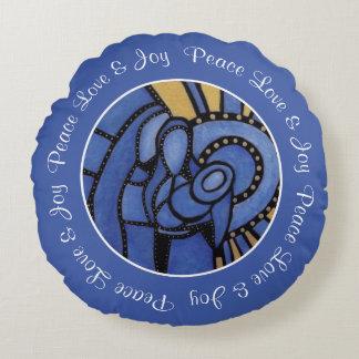 Blue Modern Christmas Holy Family Custom Name Round Pillow