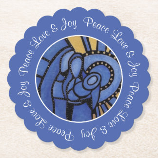 Blue Modern Christmas Holy Family Peace Love Joy Paper Coaster