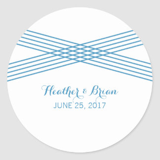 Blue Modern Deco Wedding Stickers