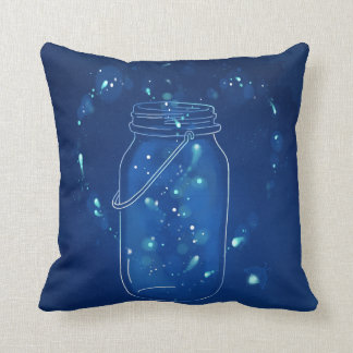 Blue Modern Firefly Love Jar Throw Pillow