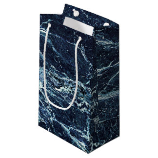 Blue modern marble pattern small gift bag