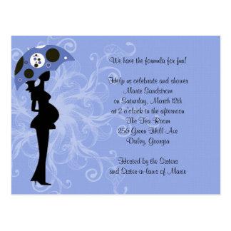 Blue Modern Mom with Umbrella Postcard